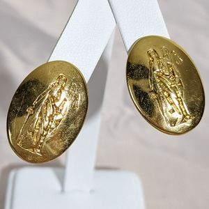 Vintage Gold Lady Justice Pierce Earrings